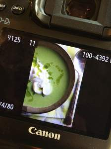 Green Pea and Asparagus Bisque photo shoot